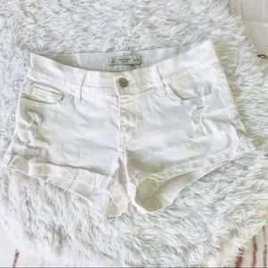 Abercrombie & Fitch White distressed shorts